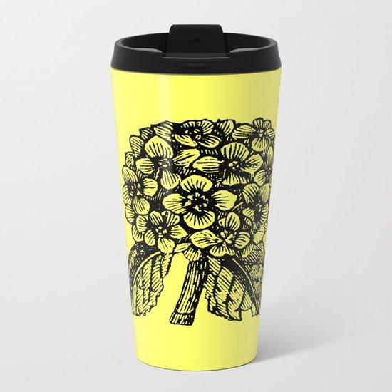 Yellow Hydrangea Metal Travel Mug