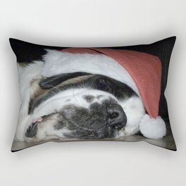 Christmas St Bernard dog Rectangular Pillow