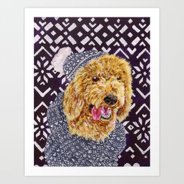 Poodle in a Hat and Scarf Art Print