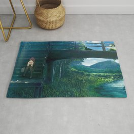 Girl In Thoughts On Stairs Riverside Stunning Landscape Cartoon Scenery Ultra High Resolution Rug