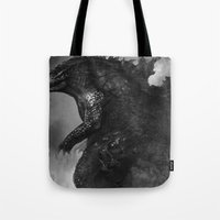 godzilla Tote Bags featuring Godzilla by ffejeromdiks