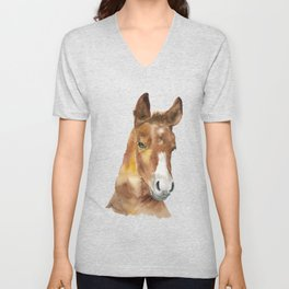 Horse Head Watercolor Unisex V-Neck