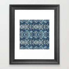 Vintage indigo inspired  flowers and lines Framed Art Print