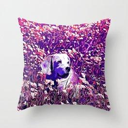 beagle dog flower field vector art purple Throw Pillow