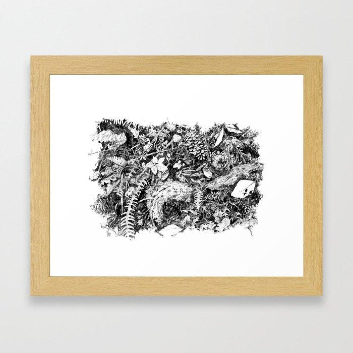 Inky Undergrowth Framed Art Print