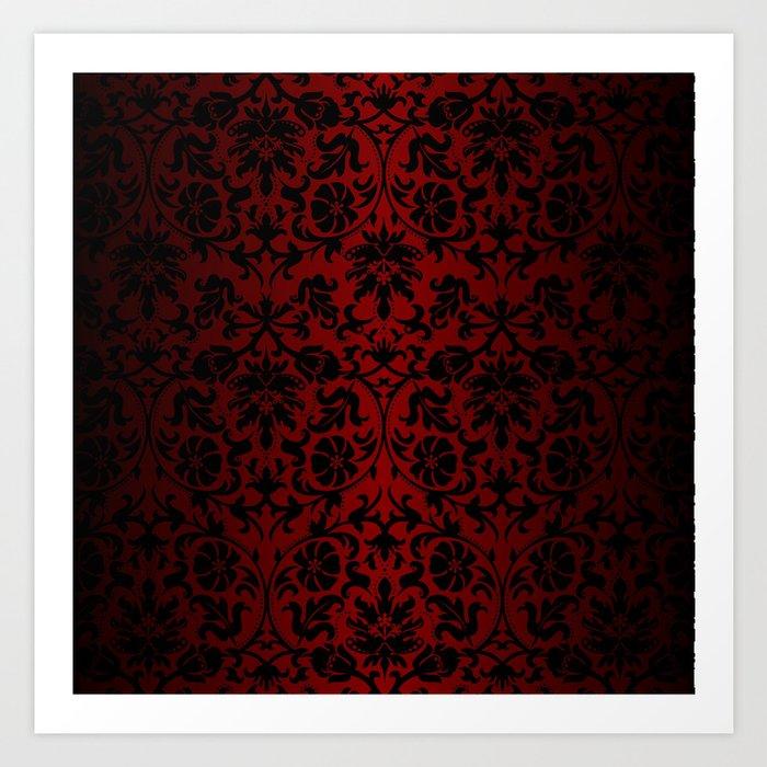 Dark Red and Black Damask Kunstdrucke