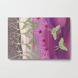 echinacea daydream with luna moths and snails Metal Print