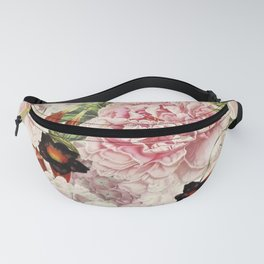 Vintage & Shabby Chic Pink Floral Peonies Flowers Garden Watercolor Pattern Fanny Pack