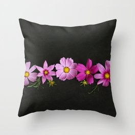 Cosmos on Black Throw Pillow