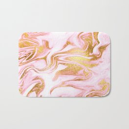 Rose Gold Marble Agate Geode Bath Mat