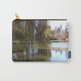 Old Weeping Willow Tree Standing Next To Pond Carry-All Pouch