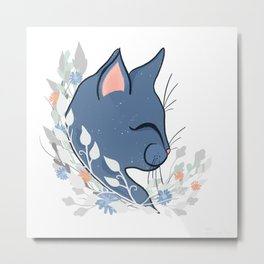 Happy Cat In The Springtime Garden Metal Print