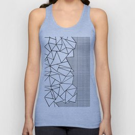 Abstraction Outline Grid on Side White Unisex Tank Top