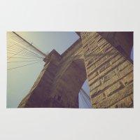 brooklyn bridge Area & Throw Rugs featuring Brooklyn Bridge by Nick Torres