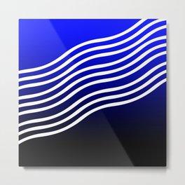 Blue black gradient curvilinear Metal Print
