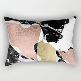 Modern white black marble rose gold foil color block handdrawn geometric lines Rectangular Pillow