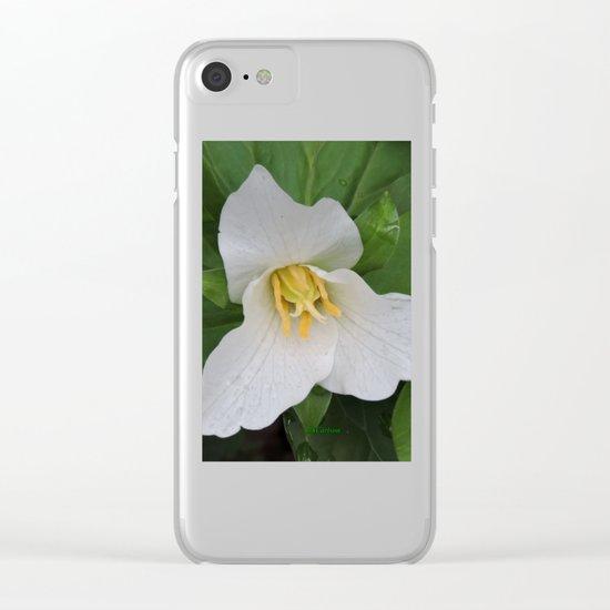 Trillium in the Rain Clear iPhone Case
