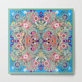 Mandala - Turquoise Boho Metal Print