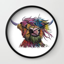 Scottish Highland Cow ' ROCK A BILLY ' by Shirley MacArthur Wall Clock