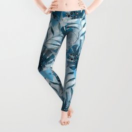 Tropical pattern.Gray, blue leaves, geometric shapes. Leggings