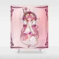 madoka Shower Curtains featuring Madoka Kaname - Nouveau edit. by Yue Graphic Design