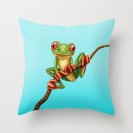 Cute Green Tree Frog on a Branch Throw Pillow