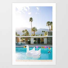 Palm Springs Swan Pool Art Print