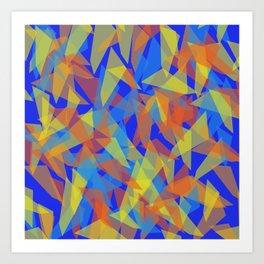 orange blue pattern Art Print