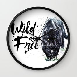 Panther watercolor painting predator animals puma jaguar wild & fre Wall Clock