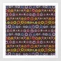 African abstract pattern watercolor Art Print