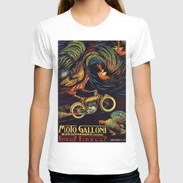 Moto Galloni 1922 Italian Motorcycle Rooster Turkey Vintage Poster T-shirt