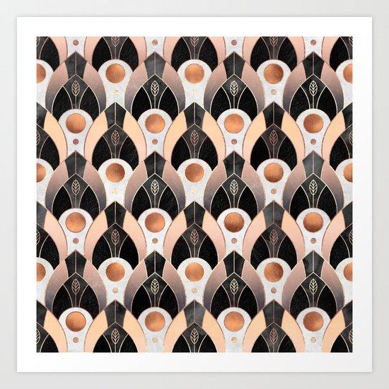 Art Deco Leaves / Version 1 Art Print