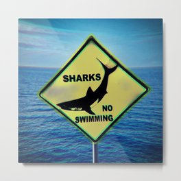 Shark,no swim Metal Print