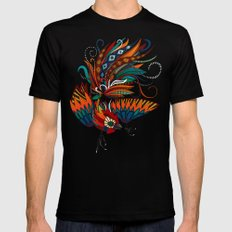 rooster ink turquoise MEDIUM Mens Fitted Tee Black