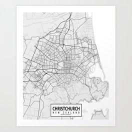 Christchurch City Map of New Zealand - Light Art Print
