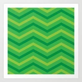Emerald Stripe Chevrons Art Print