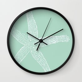 Starfish- white on sage Wall Clock