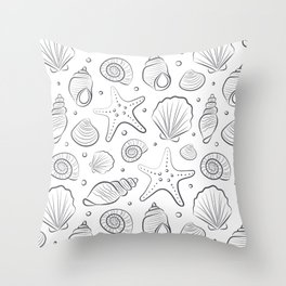 Sea shells illustration. White and gray. Summer ocean beach print. Throw Pillow