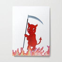Baby Devil in the Flames Metal Print