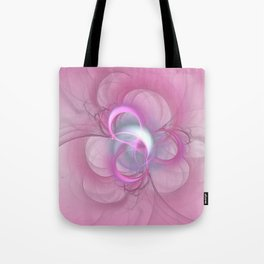 Pink Abstract Fractal on Pink Tote Bag