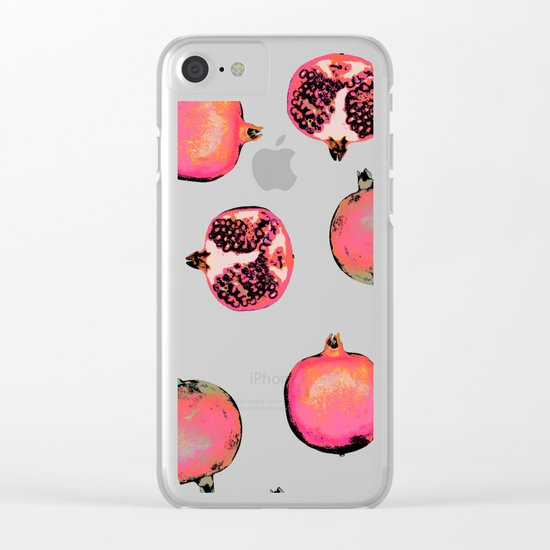 Pomegranate Pattern Clear iPhone Case