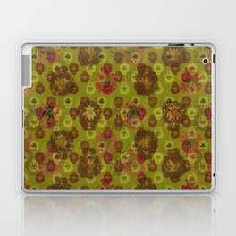 Lotus flower - curry green woodblock print style pattern Laptop & iPad Skin