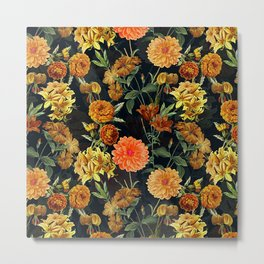 Vintage & Shabby Chic - Autumnal Flower Pattern On Blue Metal Print