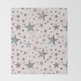 Pink Patchwork Stars Throw Blanket