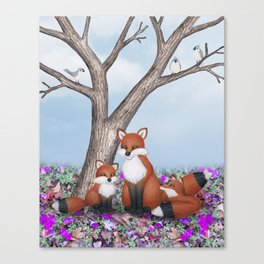 fox, cubs and tufted titmice Canvas Print