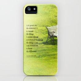 Serenity Prayer Bench iPhone Case
