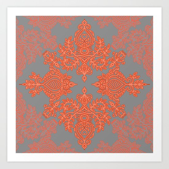 Burnt Orange, Coral & Grey doodle pattern Art Print