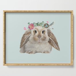 Spring Bunny with Floral Crown Serving Tray