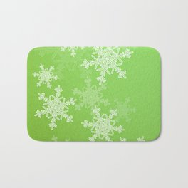 Green snowflakes Bath Mat