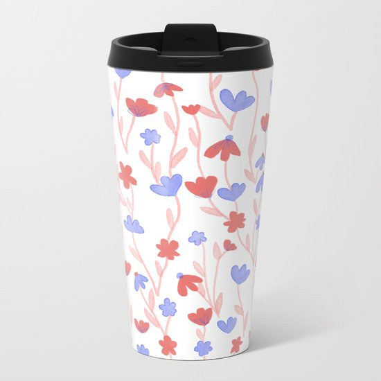 Red Blue Floral Pattern Metal Travel Mug